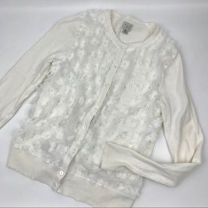 Cute white floral cardigan size XS